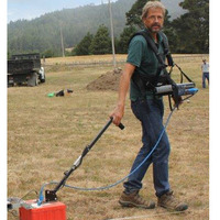 Scott Byram conducting GPR survey at Fort Ross, CA