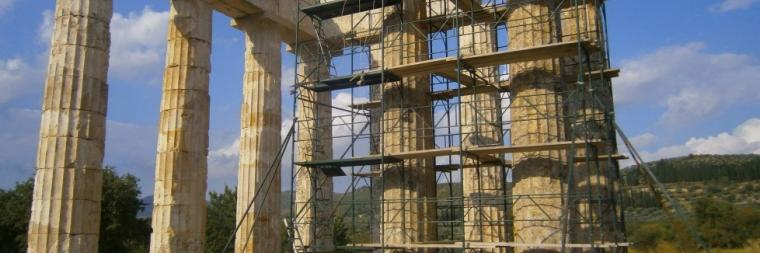 Temple of Zeus with study of pronaos columns underway. Courtesy of Nemea Project and Kim Shelton.