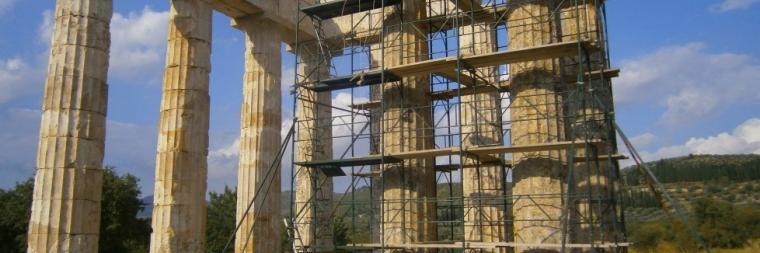 Temple of Zeus with study of pronaos columns underway