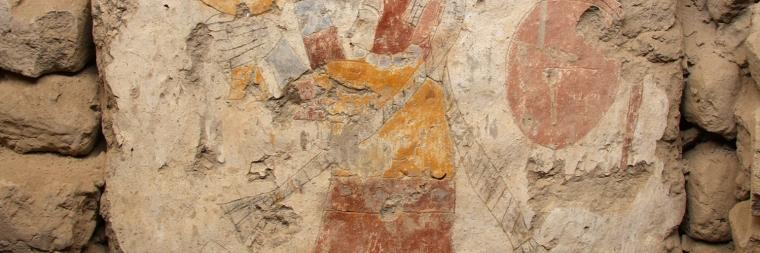 Moche mural painting stored at Cerro Sechín, outside of Casma, Peru